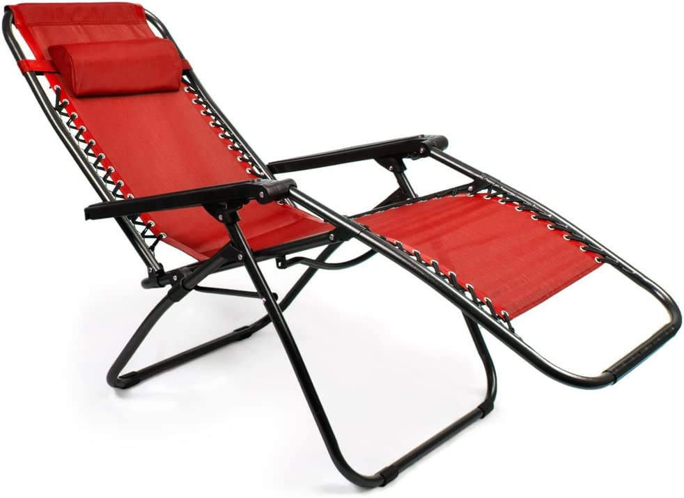 Sol Coastal HLCH-1 Zero Gravity Outdoor Folding Lounge Chair with Pillow Red