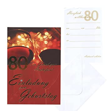 5 Card Invitation 80th Birthday Invitations Amazoncouk Office Products