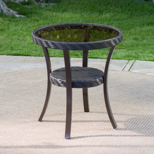 Outdoor Losani All Weather Wicker Patio Side Table Glasstop with Lower Woven Shelf 19.68 W x 19.68D x 22.04H in. - Brown Coral Coast Side Table