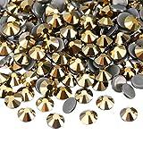 WILLBOND 1440 Pack Hot Fix AB Crystals Flatback Hotfix Rhinestones Round Gems Glass Stones (Metallic Gold, 5 MM)