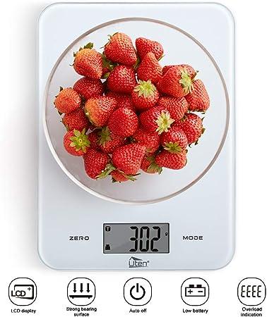 Uten Cucina 8 kg//8 Kilogram Cibo Digitale Bilancia con Piattaforma in Vetro temp