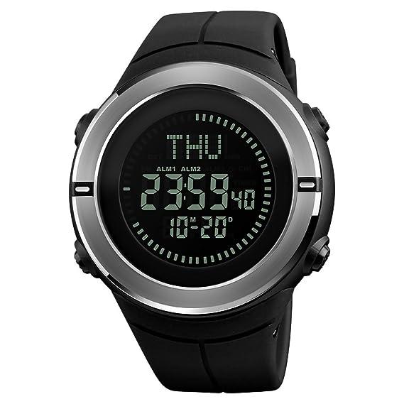 Reloj Impermeable Natación Reloj Deportivo Militar Brújula Alarma Cronómetro Cuenta Atrás Calendario 12/24 Horas