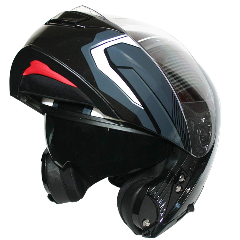 Leopard LEO-888 Double Visor Flip up Front Motorcycle Motorbike Helmet Road Legal #5 Blue Graphic M 57-58cm
