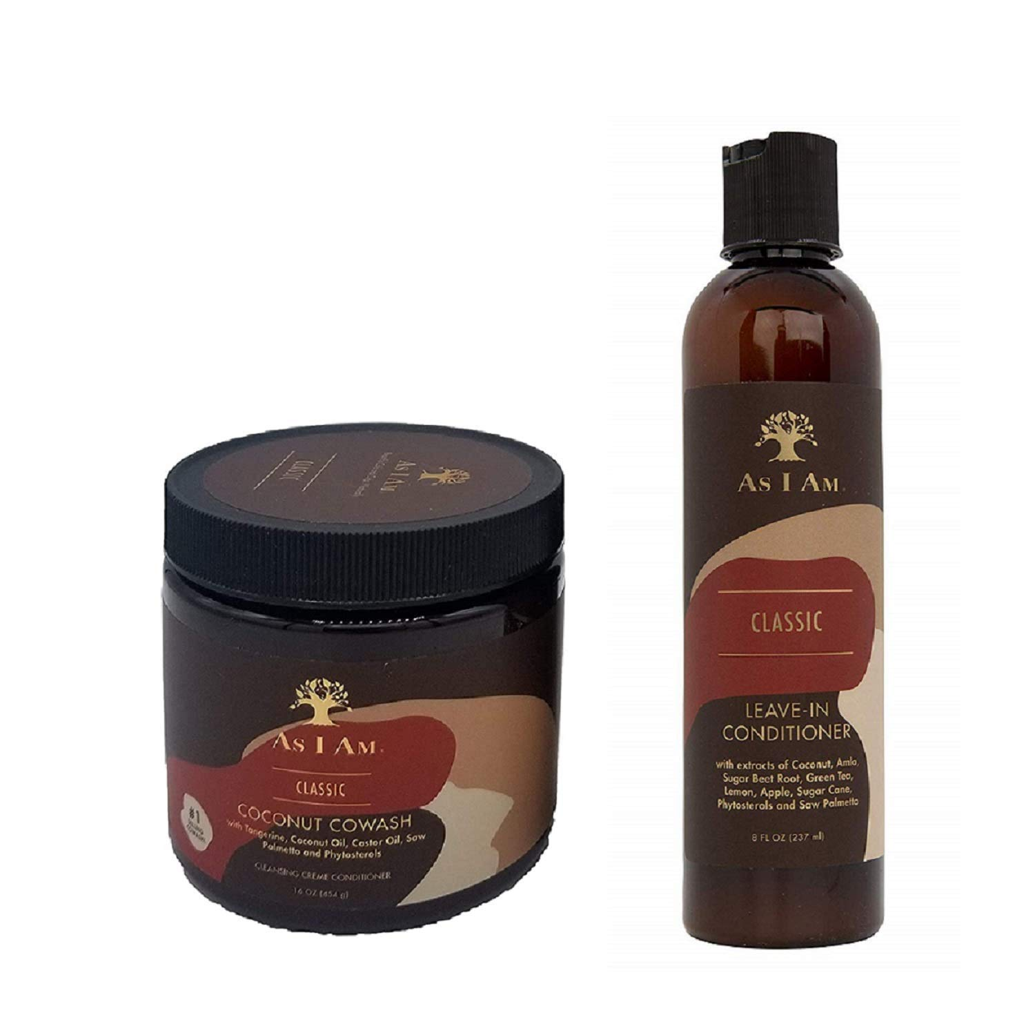 As I Am Leave-in Conditioner 8 Ounce and Coconut Cowash Cleansing Conditioner 16 Ounce