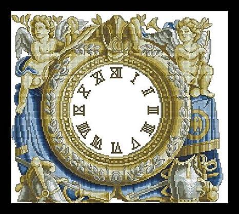 Ángulo reloj de punto de cruz, de la bandera de Egipto juego de hilos de algodón, 14ct Suzuki reloj de juego de punto de cruz: Amazon.es: Hogar