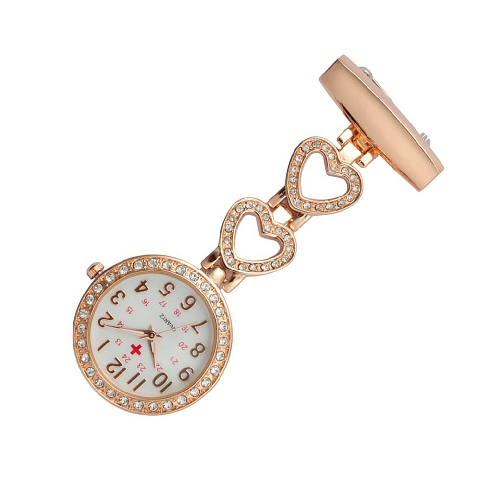 Creative Brooches Portable Medical Doctor Nurse Fob Watch Arabic Numerals Rhinestone Heart, Rose Gold by Guirui Watch (Image #2)