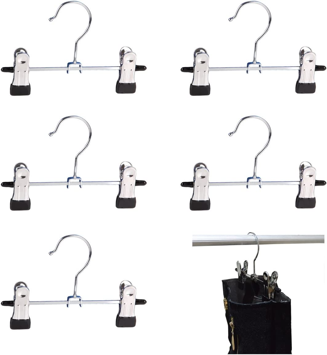 Adjustable 6 inches Double Clip Boot Hanger, Portable Travel Hanging Laundry Hooks, Set of 5