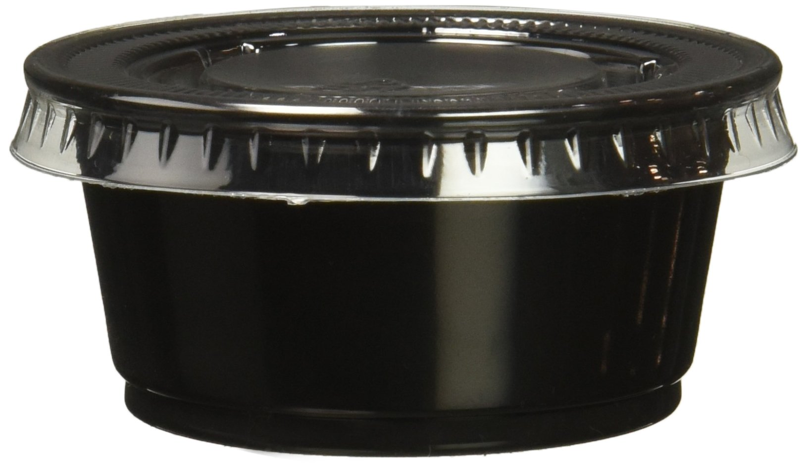 Polar Ice Plastic Black Jello Shot Cups with Lids, 2-Ounce, Black Cups, Package of 500 Cups and Lids