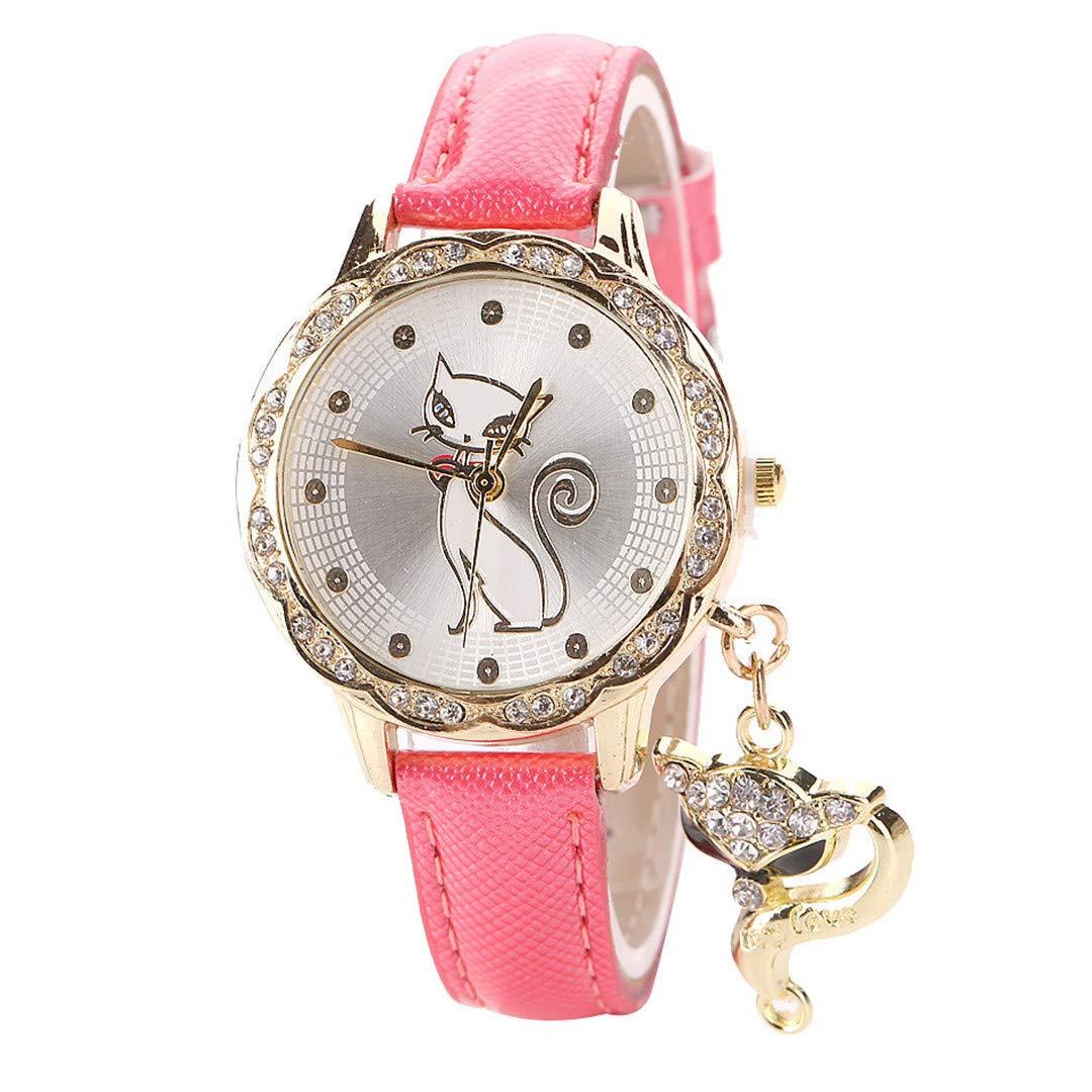 Amazon.com: Para Mujer Cute Cat Pattern Watch Women Girls Diamond Analog Leather Wrist Watches Pink: Beauty