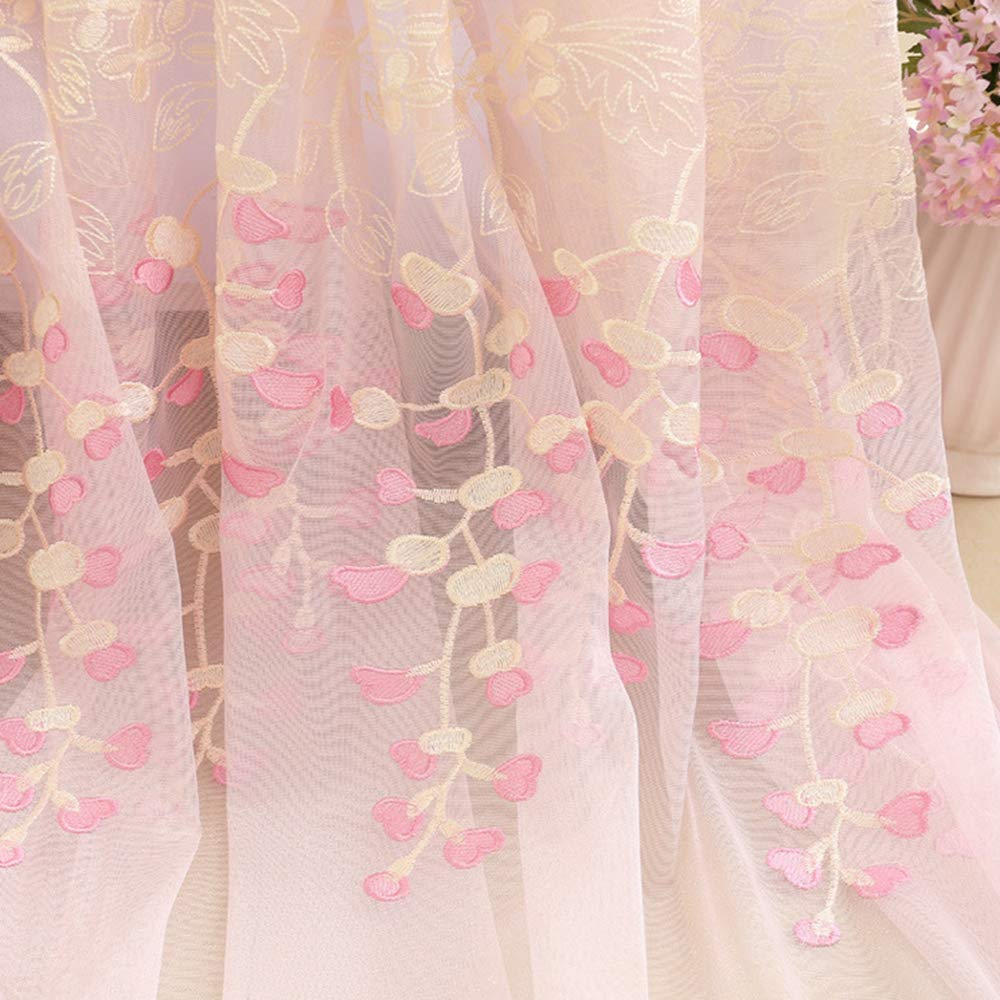 WINYY Romantic Pink Sheer Curtain Voile Embroidery Heart Curtain Drapes for Living Room Girls Bedroom Drapery Wedding Decorative Tulle Gauze 1 Panel (40'' W x 96'' L)