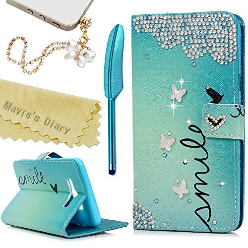 (Mavis's Diary J7 Case,Samsung Galaxy J7 (2016) J710M Case 3D Handmade Wallet PU Leather with Bling Crystal Butterflies Diamonds Card Holders Flip Cover with Cute Dust Plug & Stylus Pen)