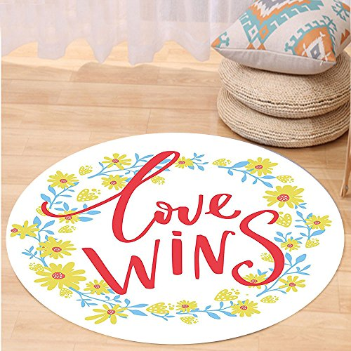 Niasjnfu Chen Custom carpetRomantic Love Wins Quote in Floral Wreath Motivational Inspiration Life Display for Bedroom Living Room Dorm Red Yellow Sky (Inspiration Sisal Rug)