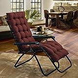 boyspingg Garden Sun Lounger Cushion Pad Recliner Chair Patio Indoor Outdoor Veranda Mattress 60 Inch (Coffe)
