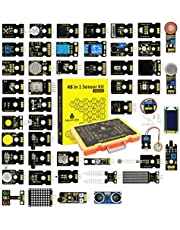 keyestudio 48 in 1 Sensor Module kit for arduino UNO, MEGA 2560, Nano, with LCD, 5v Relay, IR Receiver, Line Tracking, Traffic Light, 9G Servo Motor Module, PIR, Reed Switch, Flame, Ultrasonic Sensor