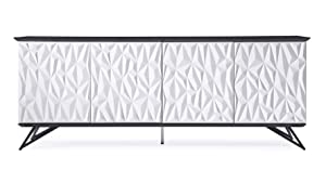 Zuri Furniture Modern Vortice Sideboard in Black and White High Gloss Lacquer with Matte Black Legs