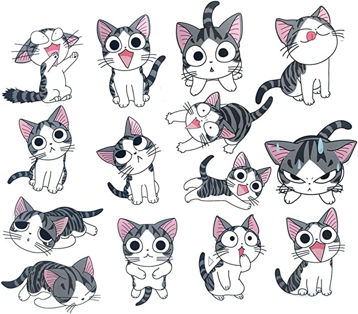 Cute cat Stickers for Laptop Stickers Car Cartoon Water Bottle Vinyl Waterproof Cars Motorcycle Bicycle Skateboard Luggage Bumper Bomb Decal{14pcs}