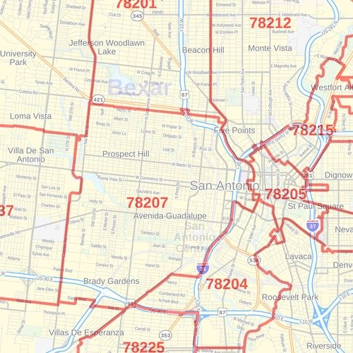 San Antonio Texas Zip Codes 36 X 48 Paper Wall Map Available In