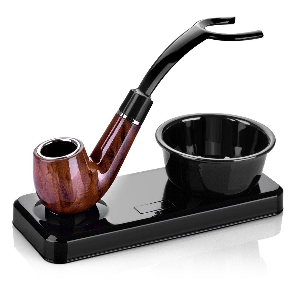 GUDUO Shaving Kit Deluxe Chrome Razor and Brush - Best Design Razor Stand with Razor Brush Blades and Bowl Stand (Black)