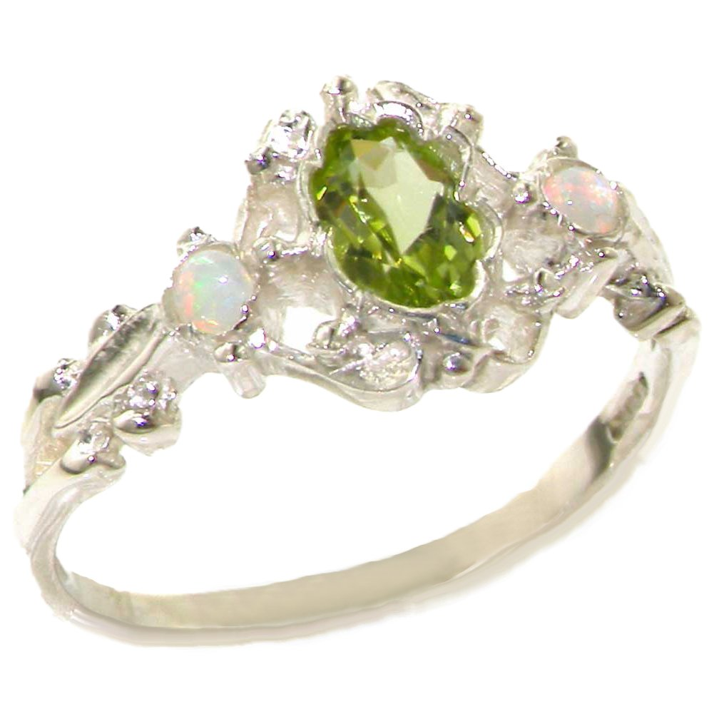 925 Sterling Silver Natural Peridot and Opal Womens Promise Ring - Size 7.5