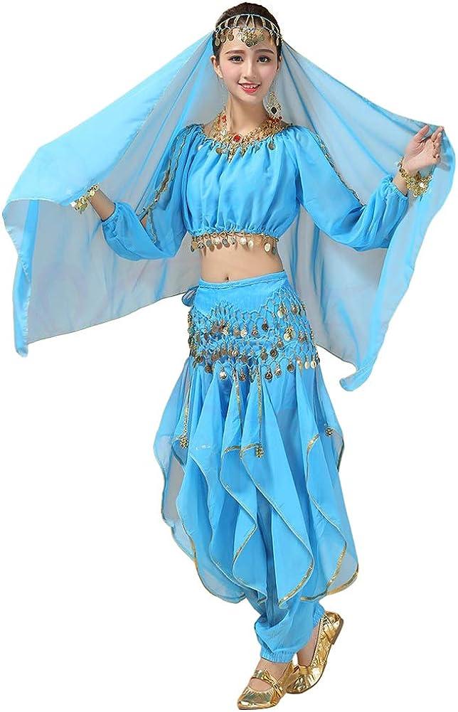 Xinvivion Mujer Danza del Vientre Disfraz, Danza India Etapa de Rendimiento Halloween Carnaval Bailando Outfit