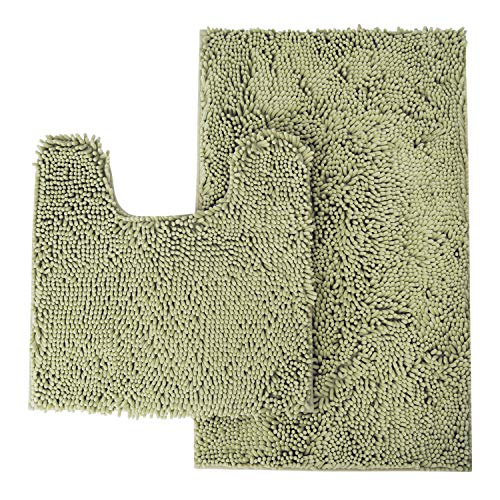 MAYSHINE Bathroom Rug Toilet Sets and Shaggy Non Slip Machine Washable Soft Microfiber Bath Contour mat (Sage Green,32