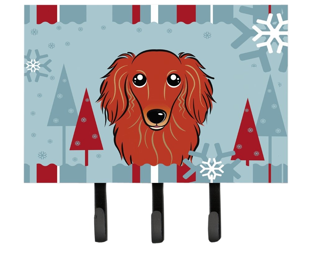 Multicolor Large Carolines Treasures BB1710TH68 Winter Holiday Longhair Red Dachshund Leash or Key Holder