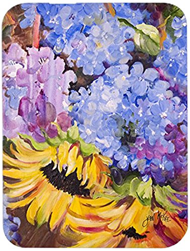 JMK1175LCB Hydrangeas and Sunflowers Glass Cutting Board, Large, Multicolor ()