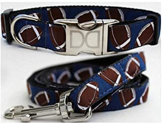 "product image for Diva-Dog 'Football' Custom Medium & Large Dog 1"" Wide Dog Collar with Plain or Engraved Buckle, Matching Leash Available - M/L, XL"