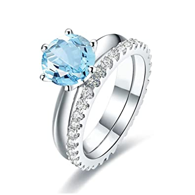 89c1a2452c708 Blisfille Diamond Ring 1 Carat Solitaire Promise Ring Crown Sterling Silver  Ring US Size 4-11,  Amazon.co.uk  Jewellery