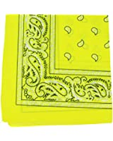 """Yellow Paisley Bandanas (12 Pack) 22"""" x 22"""" 100% Cotton"""