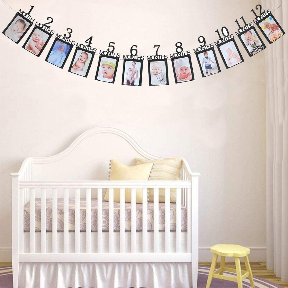 First Birthday Celebration Decoration Supplie 1st Birthday Baby Photo Banner ,Gold Glitter Growth Record 1 to12 Month Photo Prop ,Monthly Milestone Photograph Bunting Garland