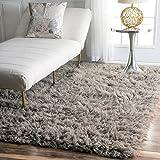 nuLOOM Standard Shag Greek Flokati 3 Foot x 5 Foot Wool Area Rug, Natural Grey For Sale