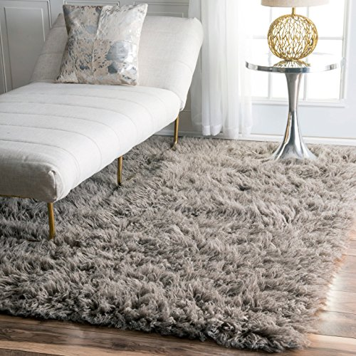 nuLOOM Flokati Collection Shag and Flokati Contemporary Solid and Striped Hand Made Area Rug, 8-Feet by 10-Feet, Natural Grey