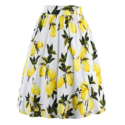 SISHION 50s Floral Skirts Womens Summer Yellow Retro Casual Vintage Midi Skater Pleated Skirt VD0355