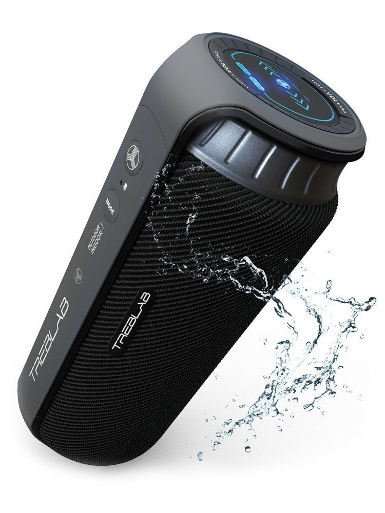 TREBLAB HD55 - Deluxe Bluetooth Speaker - Impeccable 360° HD Surround Sound & Best Bass, Great For Office, Travel & Beach Parties, Waterproof IPX4, Loud 24W Stereo, Portable Wireless Blue Tooth w/Mic