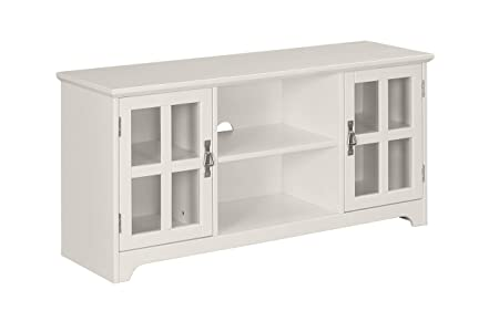 Ravenna Home Peterson Modern Glass Cabinet Storage TV Media Entertainment Stand, 46 W, White