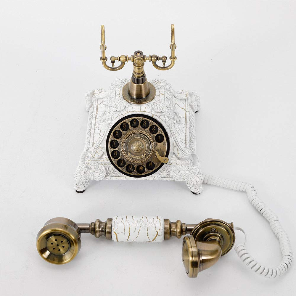 Star Hotel Art Gallery Office Telephone Old Fashioned Phone Vintage Antique Style White Resin Hands Free Telephone- Classic Decoration Suitable for Home Luxury Home