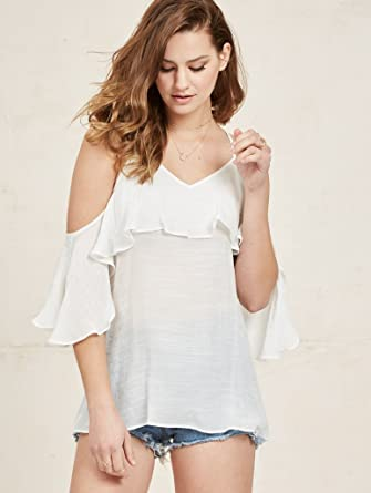 fc26614e0fc6a Image Unavailable. Image not available for. Color  NOA ELLE Womens Linen Off  The Shoulder Top With Ruffle Detail