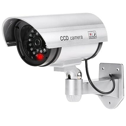KKmoon Cámara Simulada Falsa, Camara Bala de Vigilancia, Impermeable con Luz LED Rojo para