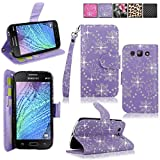 Galaxy J1 Ace Case - Cellularvilla Pu Leather Wallet Flip Card Slots Open Pocket Case Cover Pouch For Samsung Galaxy J1 Ace J100F J100H (Purple Glitter)