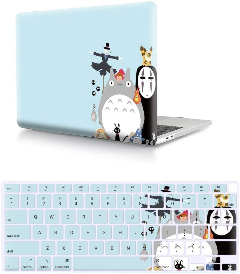 "HRH 2 in 1 Halloween Totoro PC Plastic Hard Case Cover and Silicone Keyboard Cover for Apple MacBook New Air 13"" with Retina Display fit Fingerprint Touch ID (Model A2179,2020 Release)"