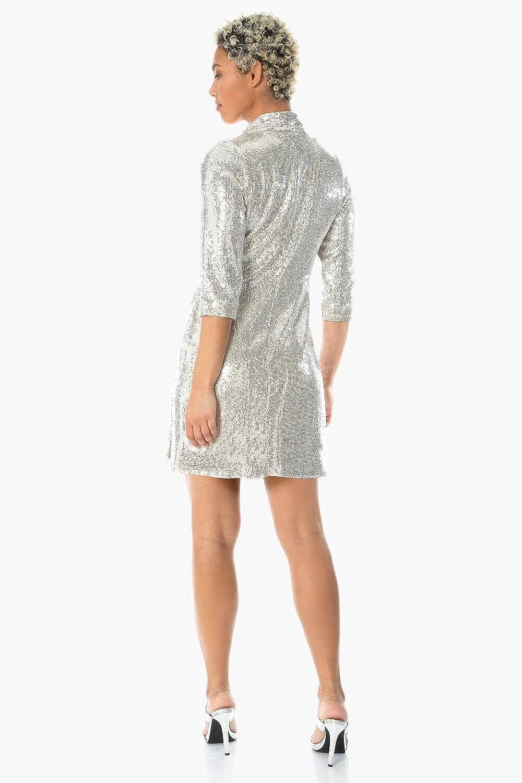 Blazer Roman Originals Damen Paillettenkleid Partys Disco gl/änzend Weihnachten Damen Mode f/ür Festliche Anl/ässe Silvester Glitzer Frack Kleid mit Wickeloptik