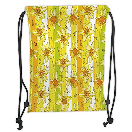 Custom Printed Drawstring Sack Backpacks Bags,Yellow Flower,Floral Spring Narcissus and Daffodil Jonquil Blooms Striped Backdrop,Yellow Apple Green Soft Satin,5 Liter Capacity,Adjustable String Closur