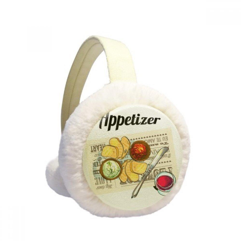 Appetizer Slice of Bread Wine Winter Earmuffs Ear Warmers Faux Fur Foldable Plush Outdoor Gift