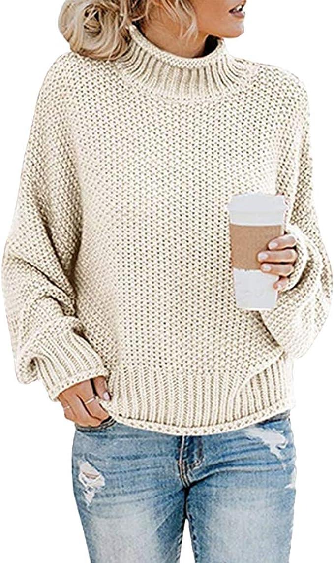 OSYARD Damen Sweatshirt Pullover Cardigan Frauen Langarm Solid Tops Bluse Shirt Asymmetrisch Rollkragen Tunika Hemd Einfarbig Oberteile Strickpullove Pulli Herbst Winter Warme Sweater