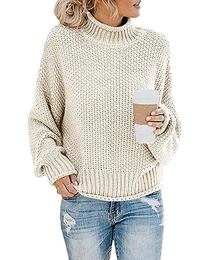Yidarton Pullover Damen Rollkragenpullover Strickpullover