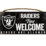 Oakland Raiders Wood Sign - Fans Welcome 12''x6'' by Hall of Fame Memorabilia