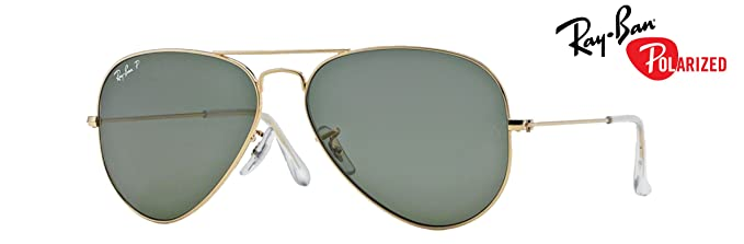 57e497ab50 Amazon.com  RB3025 (001 58) Gold Crystal Green Polarized 55mm  Clothing