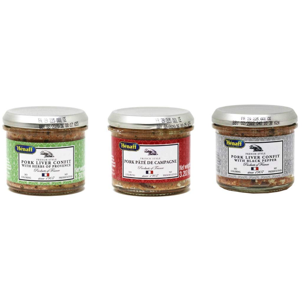 Henaff - Pork Liver Confit and Pate Set (3 Flavor Sampler), 90g (2-PACK) by Francis Miot