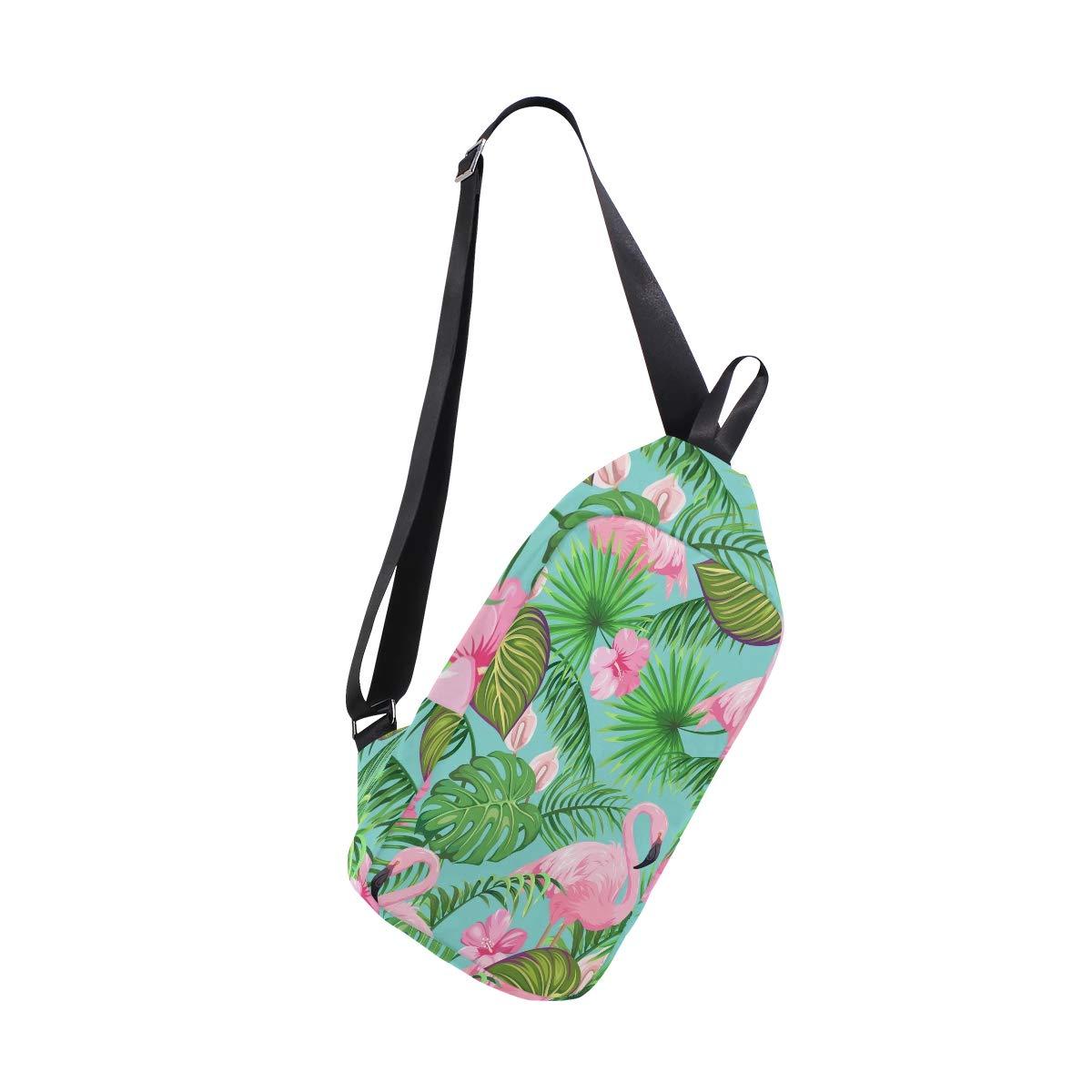 TFONE Flamingo Floral Palm Leaf Crossbody Bag Lightweight Chest Shoulder Messenger Pack Backpack Sling Bag